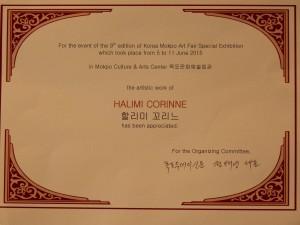 Diplôme reçu lors de l'exposition à Mokpo en Séoul Corée du Sud
